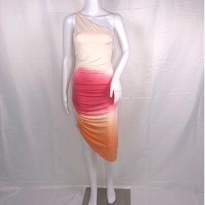 YFB Cream Pink Orange Ombré 1 Shoulder Ruched Side
